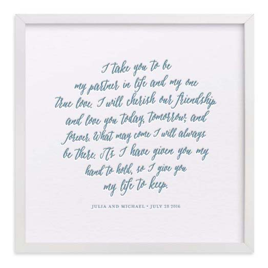 First Anniversary Gifts - Letterpress Vows