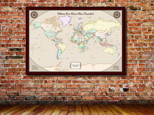 2nd Anniversary Gift - Cotton Map