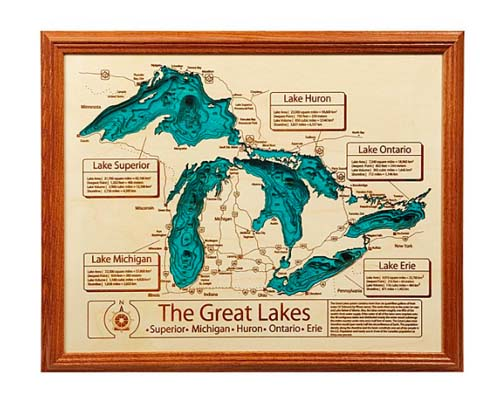 5 Year Anniversary Gifts - Custom Lake Map