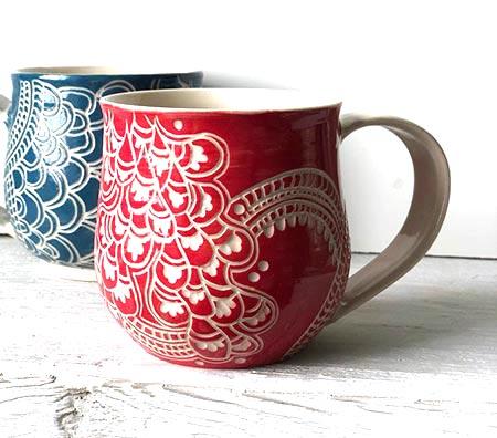 Handmade Coffee Mugs - Carved