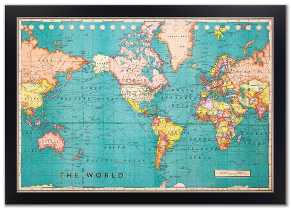 World Travel Map with Pins - Cork Edition