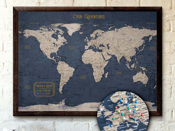 World Travel Map with Pins - KR Maps