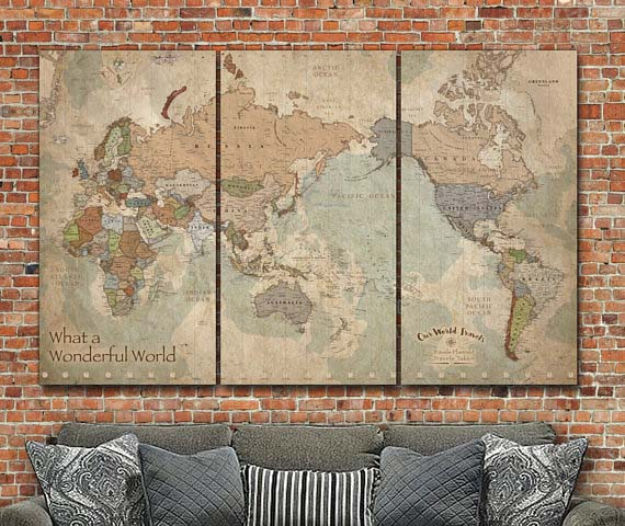 World Travel Map with Pins - Triptych Panels