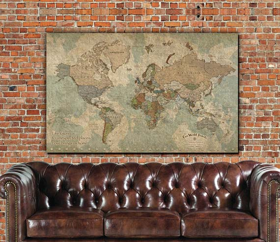 World Travel Map with Push Pins - Holy Cow Canvas