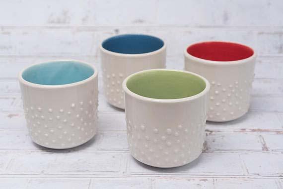 Handmade Ceramic Coffee Mugs - Studded Espresso Cups