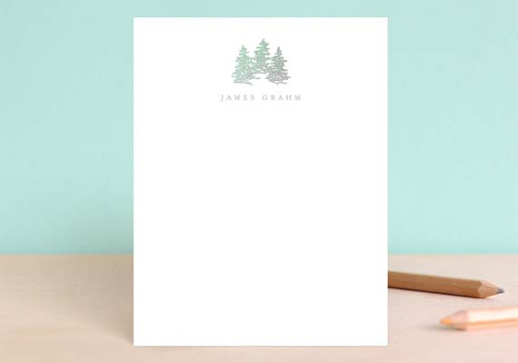 Cool Stationery For Him - Gold Foil Trees