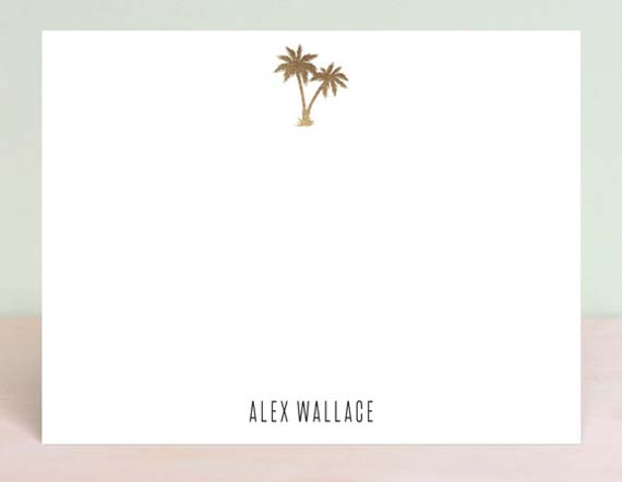 Cool Stationery For Him - Gold Foil Palm Trees