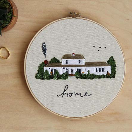 Embroidered House Portrait