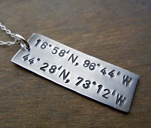 Long Distance Relationship Gifts - Coordinates Pendant
