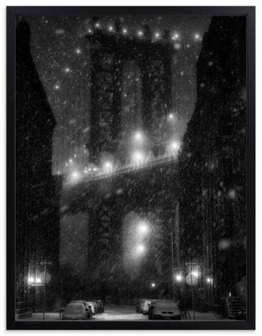 Nursery Wall Art Prints - Manhattan Bridge Snowstorm