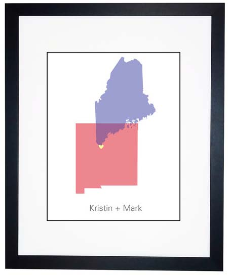 Long Distance Relationship Gifts - Two States Watercolor
