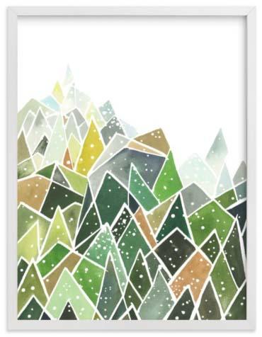 Natural World Art Prints - Landscape Triangles Dots