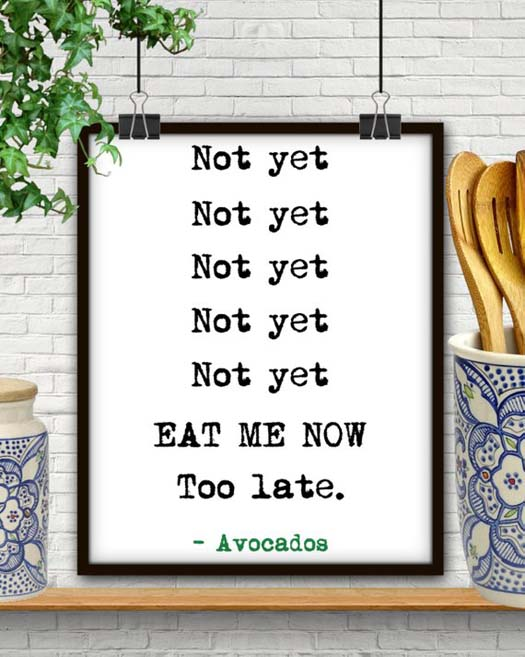 Gifts for Avocado Lovers - Too Late Print