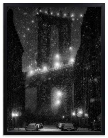 NYC Wall Art - Manhattan Bridge Snowstorm