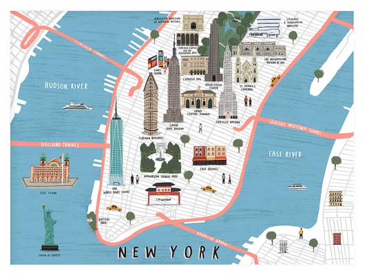NYC Wall Art Prints - Illustrated Tourist Map
