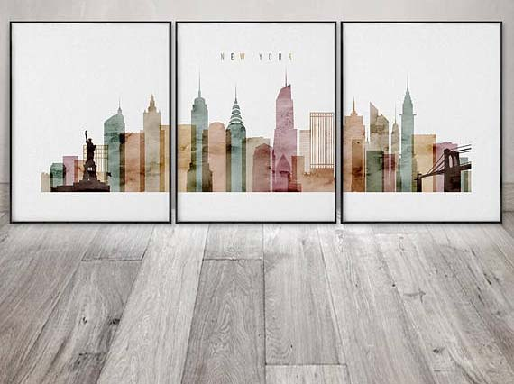 NYC Wall Art - New York Skyline Triptych