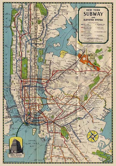 NYC Wall Art Prints - Vintage Subway Map