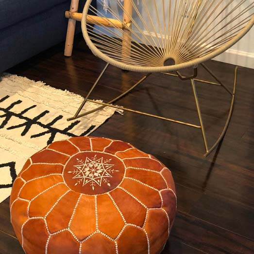 3rd Anniversary Gifts - Leather Pouf