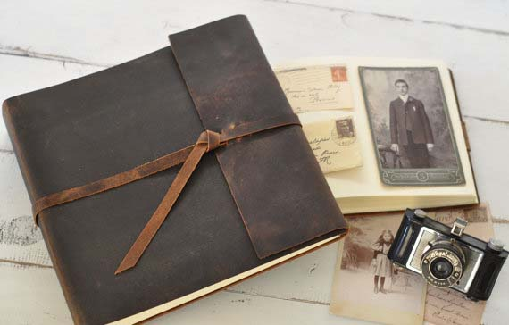 3rd Anniversary Gifts - Rustic Leather Photo Album