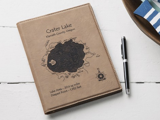 3rd Leather Anniversary Gift - Lake Notebook