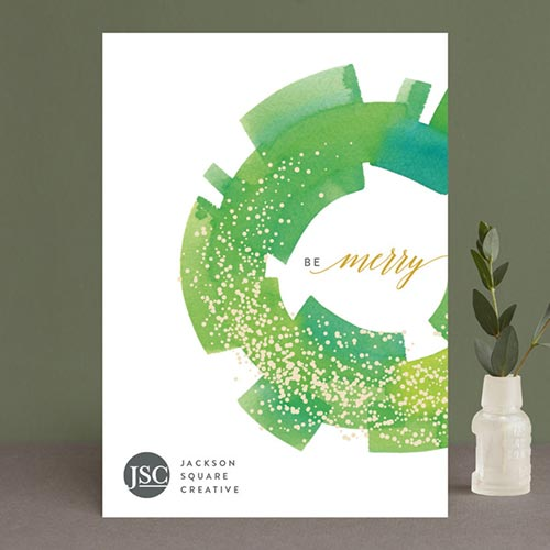 Business Holiday Cards - Abstract Wreath