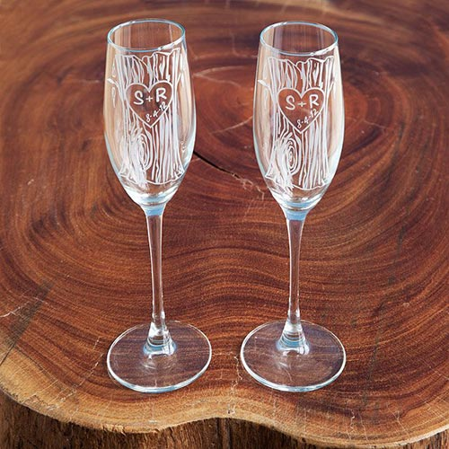 Long Distance Relationship Gifts - Etched Champagne Flutes