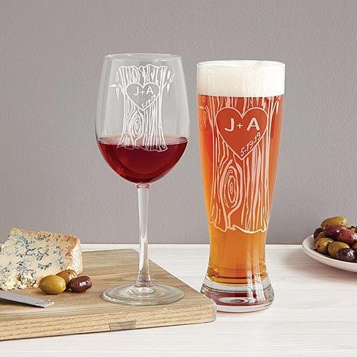 Long Distance Relationship Gifts - Tree Trunk Glassware