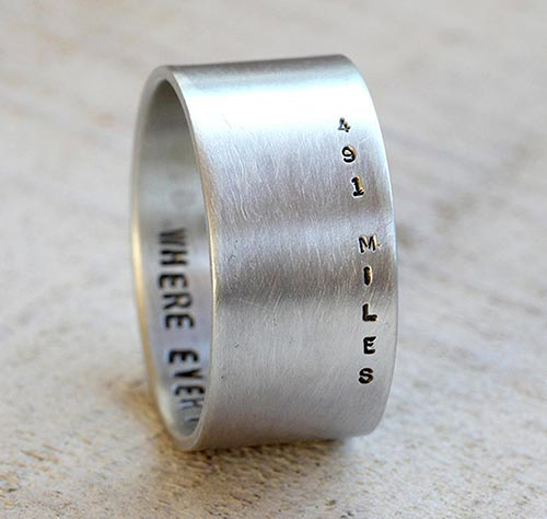 Long Distance Relationship Gifts - Custom Stamped Ring