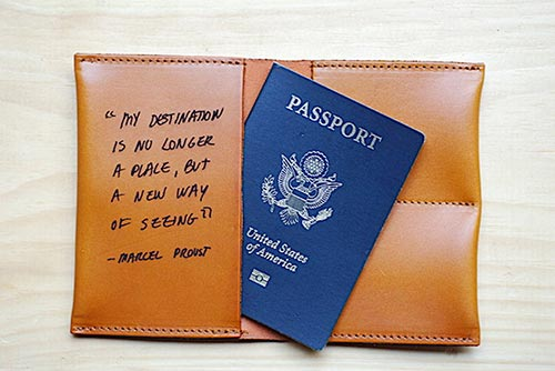 Long Distance Relationship Gifts - Leather Passport Wallet