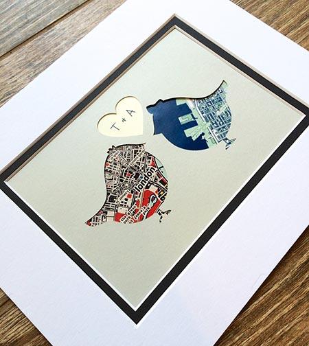 Long Distance Relationship Gifts - Custom Lovebirds Art
