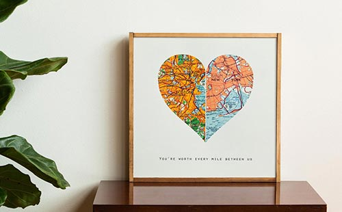 Long Distance Relationship Gifts - Heart Maps