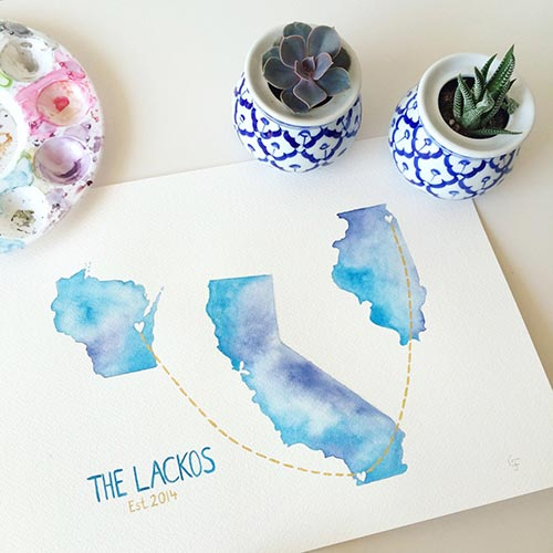 Watercolor State Maps