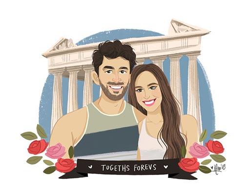 Long Distance Relationship Gifts - Custom Couples Portrait