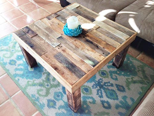 Reclaimed wood coffee table - the Beach House square