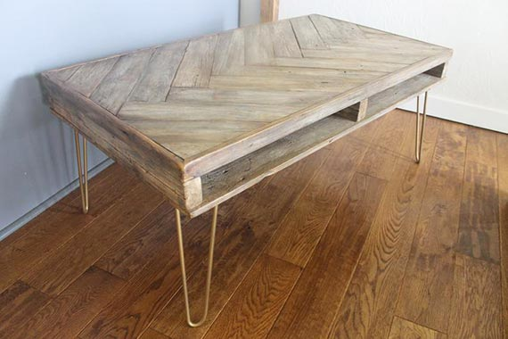 Herringbone Inlay Coffee Table with Shelf