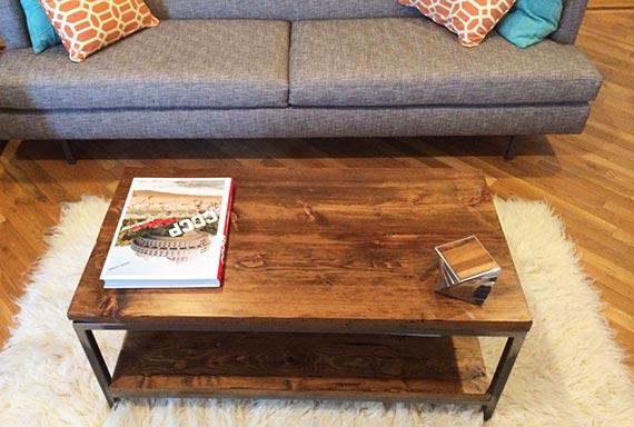 Wood & Steel Rustic Coffee Table