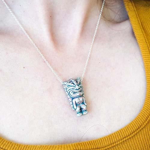 Best tiki gifts under $50 - Mini tiki figure necklace